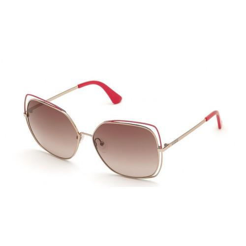 GUESS Okulary przeciwsłoneczne damskie GU7638 28T - złoty, brązowy