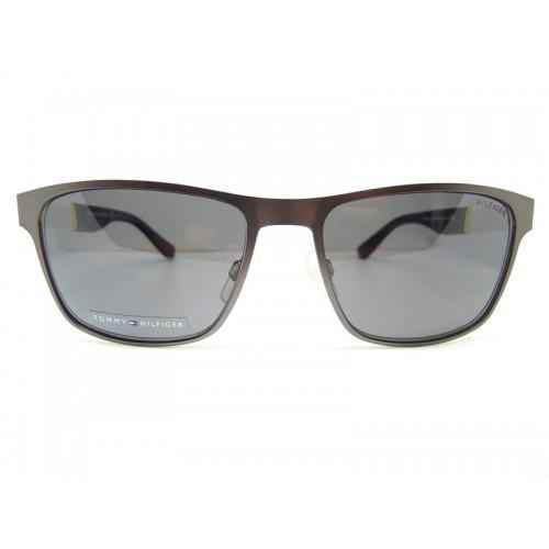 Tommy Hilfiger Okulary przeciwsłoneczne męskie TH1283 FO53H - szary, granatowy, filtr UV 400