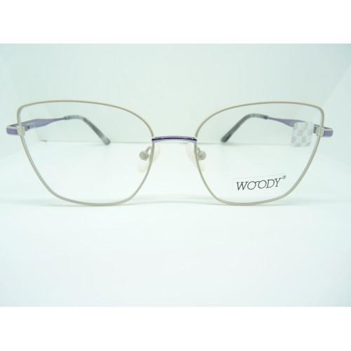 WOODY Oprawa okularowa damska ME 2312 C2 - fioletowy, biały