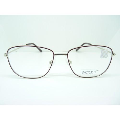 WOODY Okulary korekcyjne damskie 9292 C2 - srebrny, bordowy