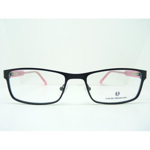 Louis Delacroix Okulary korekcyjne damskie 73022 Col.03 - czarny, różowy