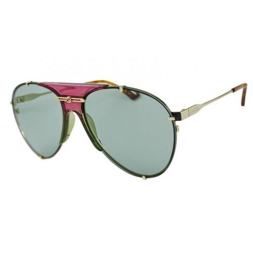 Gucci Okulary przeciwsłoneczne unisex, GG0740s 004 - zielony, złoty