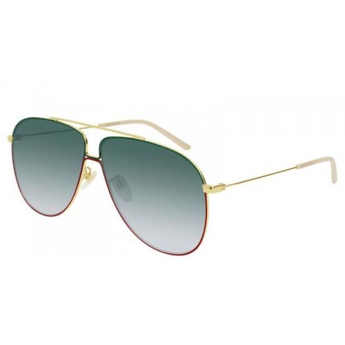 Gucci Okulary przeciwsłoneczne męskie GG0440S 008 - zielony, złoty, czerwony