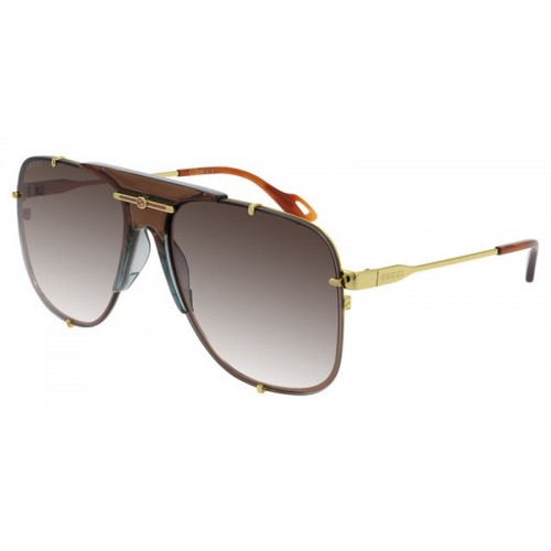 Gucci Okulary przeciwsłoneczne unisex, GG0739s 002 -brązowy, złoty