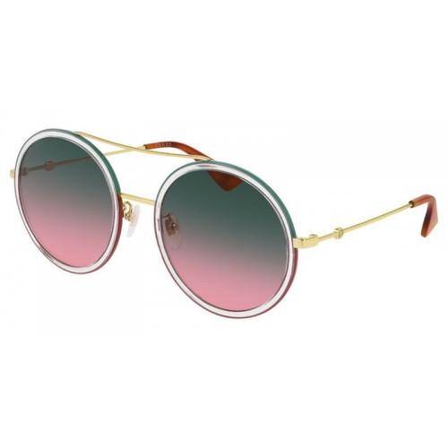 Gucci Okulary przeciwsłoneczne damskie Gucci GG0061S 022 - złoty, zielony, czerwony