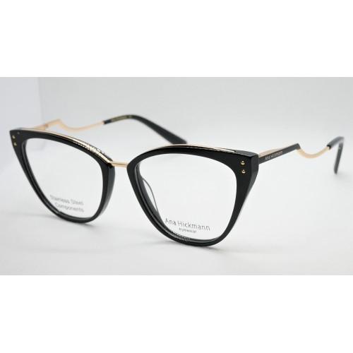 Ana Hickmann Oprawa okularowa damska AH6401 A01 - czarny, złoty