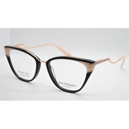 Ana Hickmann Oprawa okularowa damska AH6401 P02 - czarny, beżowy
