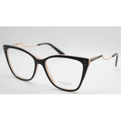 Ana Hickmann Oprawa okularowa damska AH6402 A01 - czarny, beżowy