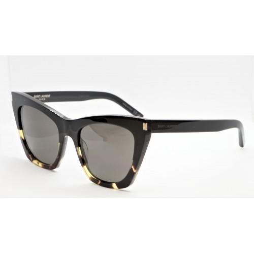 Yves Saint Laurent Okulary przeciwsłoneczne damskie SL 214 KATE 010 - czarny, szylkret, filtr UV 400