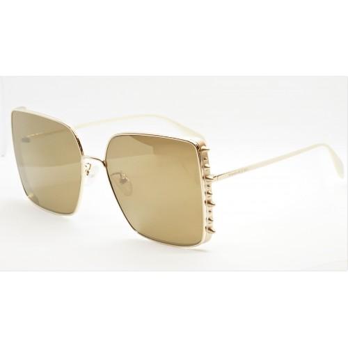 Alexander McQueen Okulary przeciwsłoneczne damskie AM0309S 003 - złoty, filtr UV 400