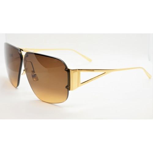 Bottega Veneta Okulary przeciwsłoneczne unisex BV1065S 002 - złoty, brązowy, filtr UV400