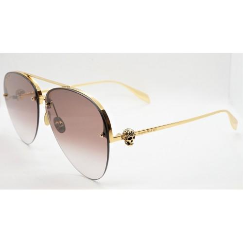 Alexander McQueen Okulary przeciwsłoneczne unisex AM0270S 002 - złoty, filtr UV 400