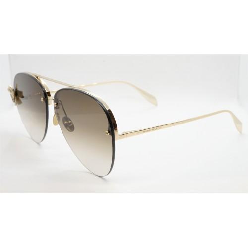 Alexander McQueen Okulary przeciwsłoneczne damskie AM0272S 002 - złoty, filtr UV 400