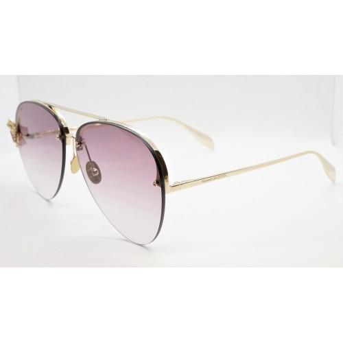 Alexander McQueen Okulary przeciwsłoneczne damskie AM0272S 003 - złoty, filtr UV 400