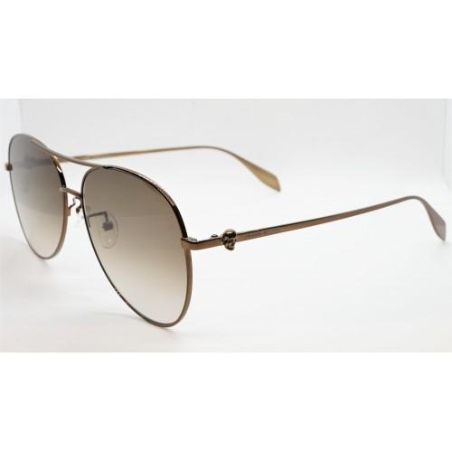 Alexander McQueen Okulary przeciwsłoneczne unisex AM0274S 002 - brązowy, filtr UV 400