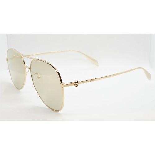 Alexander McQueen Okulary przeciwsłoneczne unisex AM0274S 003 - złoty, filtr UV 400