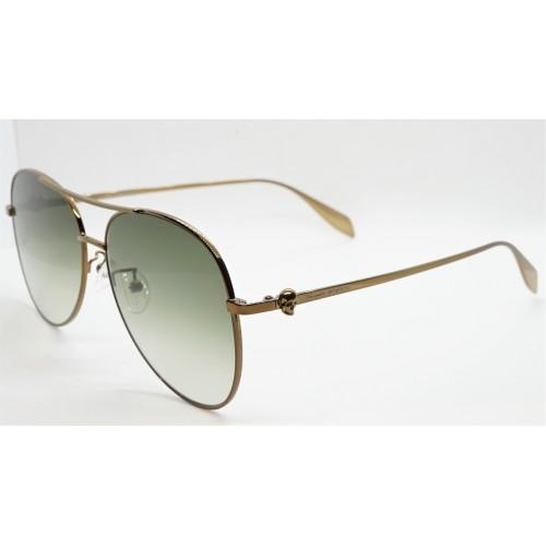 Alexander McQueen Okulary przeciwsłoneczne unisex AM0274S 004 - brązowy, zielony, filtr UV 400