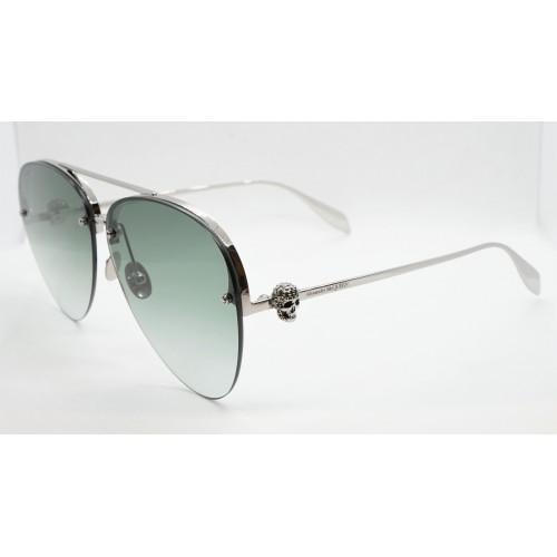 Alexander McQueen Okulary przeciwsłoneczne unisex AM0270S 003 - srebrny, zielony, filtr UV 400