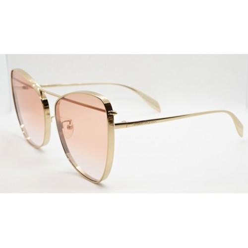Alexander McQueen Okulary przeciwsłoneczne damskie AM0228S 004 - złoty, filtr UV 400