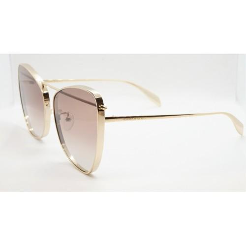 Alexander McQueen Okulary przeciwsłoneczne damskie AM0228S 002 - złoty, filtr UV 400