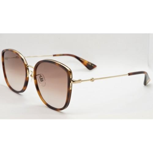 Gucci Okulary przeciwsłoneczne damskie GG0606SK 003 - złoty, brązowy, filtr UV400