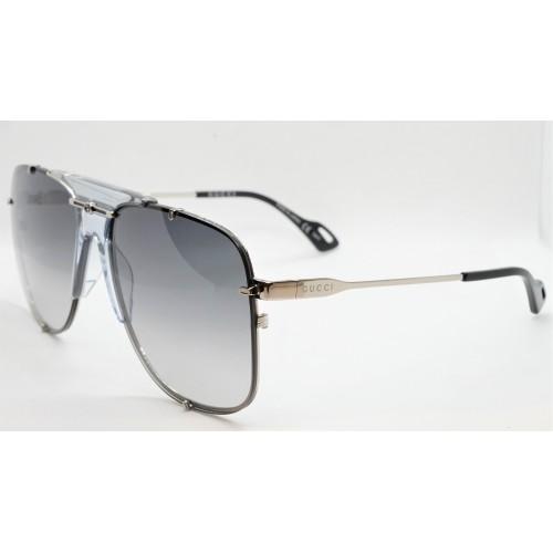 Gucci Okulary przeciwsłoneczne unisex GG0739S 001 - srebrny, niebieski, filtr UV400