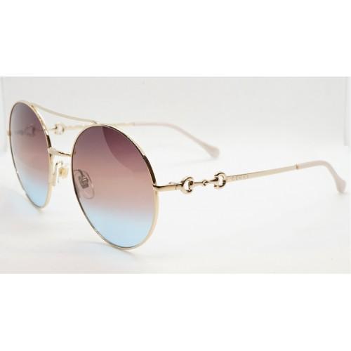 Gucci Okulary przeciwsłoneczne damskie Gucci GG0878S 004 - złoty, różowy, niebieski, filtr UV400