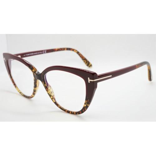 Tom Ford Oprawa okularowa damska FT5673-B 056 - szylkretowy, bordowy