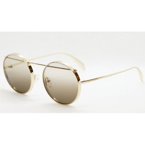Alexander McQueen Okulary przeciwsłoneczne unisex AM0137S 001 - złoty, filtr UV 400
