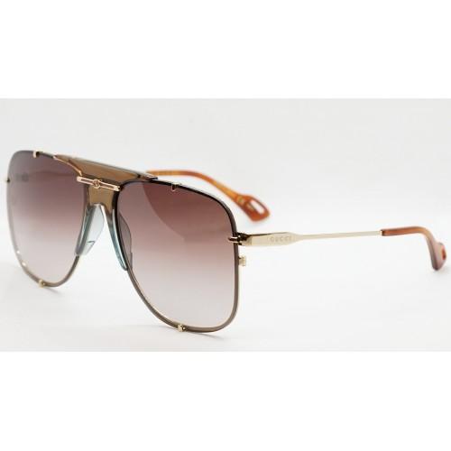 Gucci Okulary przeciwsłoneczne unisex GG0739S 002 - złoty, brązowy , filtr UV400