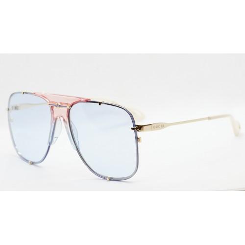 Gucci Okulary przeciwsłoneczne unisex GG0739S 003 - srebrny, niebieski, filtr UV400