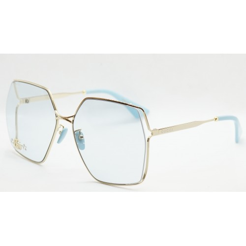 Gucci Okulary przeciwsłoneczne damskie GG0817S 004 - złoty, niebieski, filtr UV400