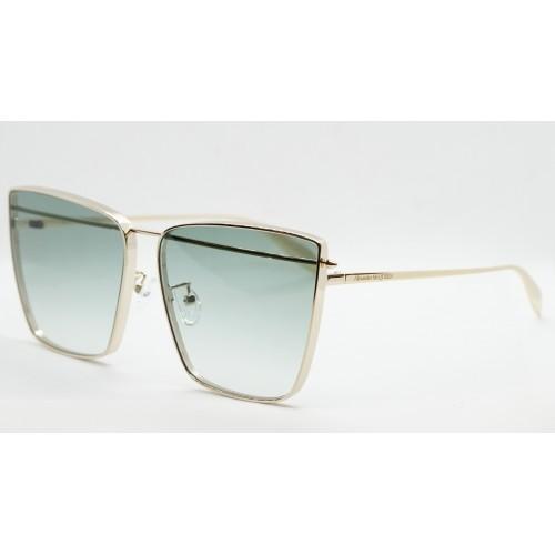 Alexander McQueen Okulary przeciwsłoneczne damskie AM0298S 004 - złoty, zielony, filtr UV 400