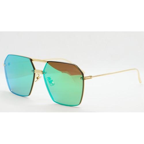 Bottega Veneta Okulary przeciwsłoneczne unisex BV1045S 004 - złoty, zielone, filtr UV400