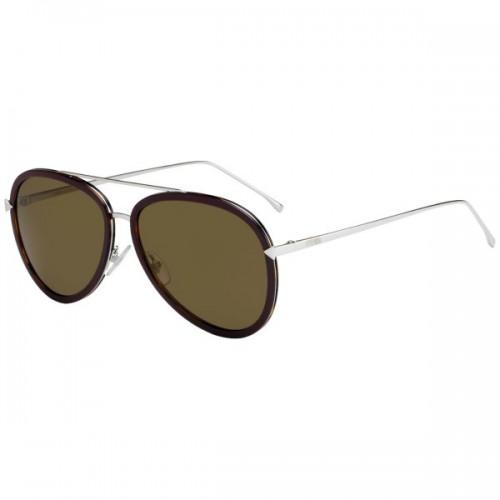 Fendi Okulary przeciwsłoneczne damskie FF0155/S V52VP - bordowy, srebrny, filtr UV 400