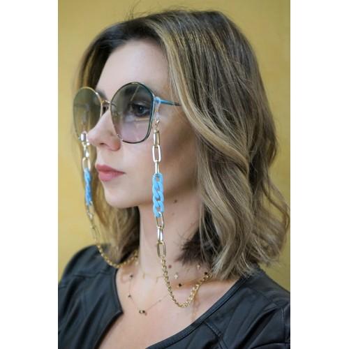 Łańcuszek do okularów - złoty/niebieski/70cm