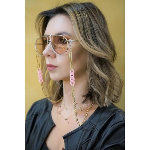Łańcuszek do okularów - złoty/różowy/70cm